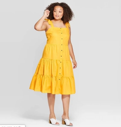 Square Neck Tiered Button-Front Dress
