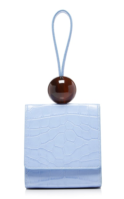 Ball Croc-Effect Leather Top Handle Bag