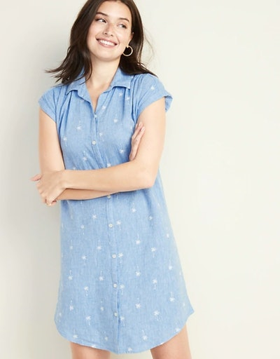 Linen-Blend Shirt Dress
