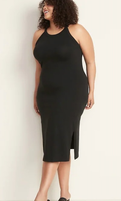 Fitted High-Neck Plus-Size Sleeveless Midi Dress