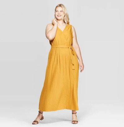 V-Neck Pleated Maxi Dress