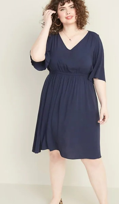 Elbow-Sleeve Plus-Size Dress