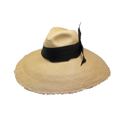 Panama Hat Frayed Long Brim Hat