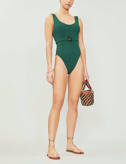 Solitaire Scoop-Neck High-Leg Swimsuit