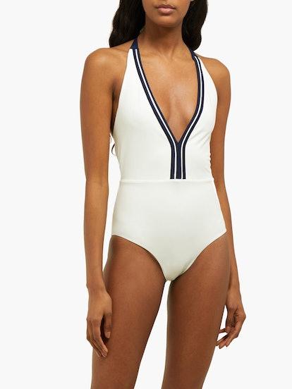 Myries Halterneck Plunge Jersey Swimsuit
