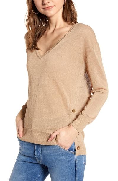 Side Button Linen Blend V-Neck Sweater