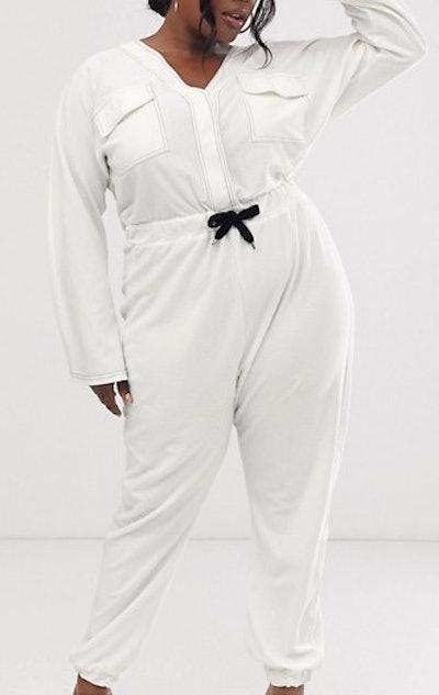 Contrast Stitch Pocket Front Jersey Boiler Jumpsuit