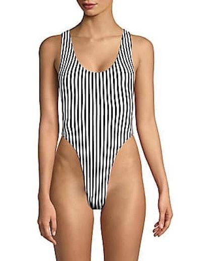 Marissa Stripe High-Cut One-Piece Swimsuit