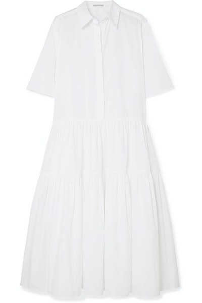 Primrose Oversized Tiered Cotton-Poplin Shirt Dress
