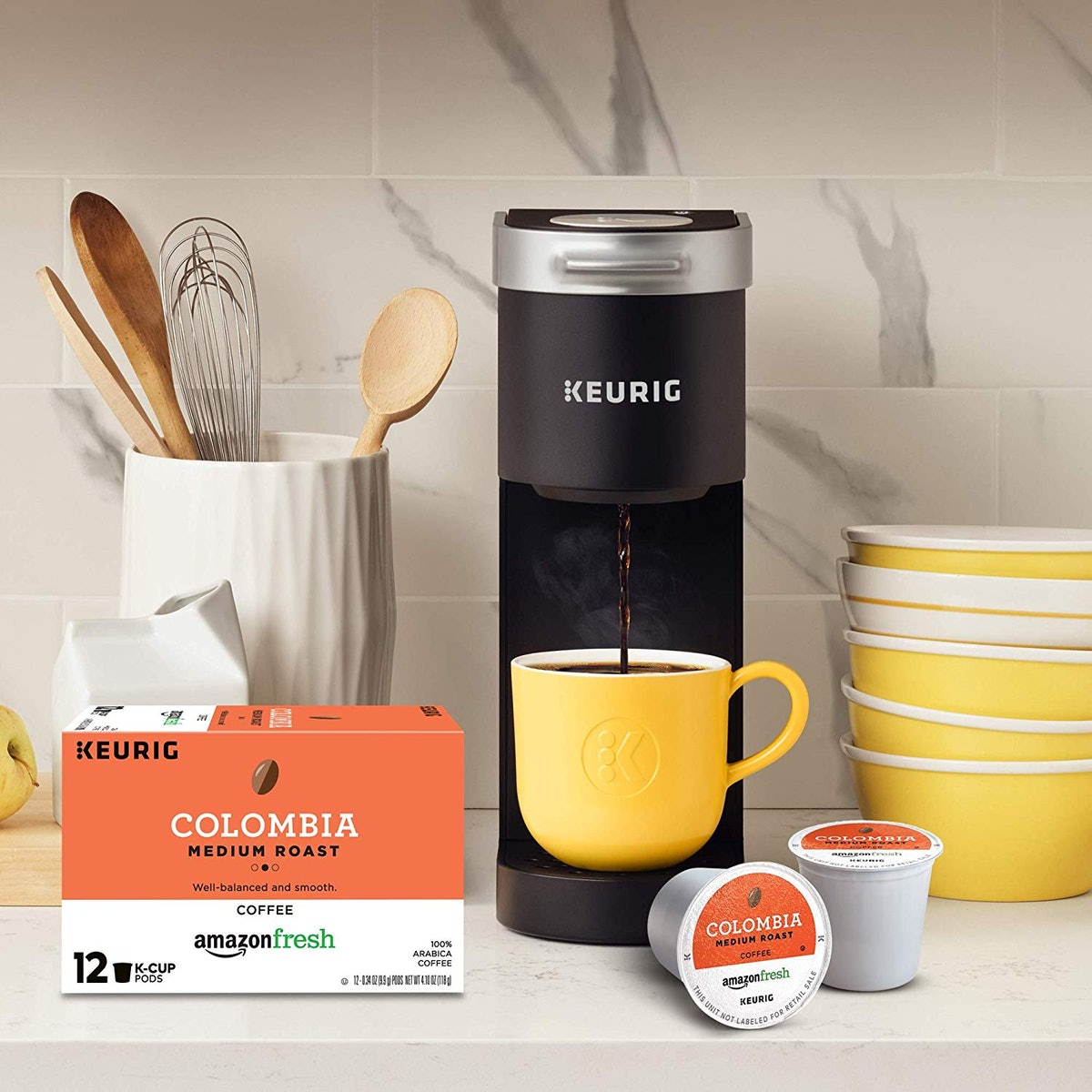 Keurig K-Mini Single Serve Coffee Maker with AmazonFresh 12 Ct. Colombia Medium Roast K-Cup Coffee P...