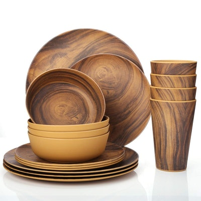 16-Piece Bamboo Tableware Set