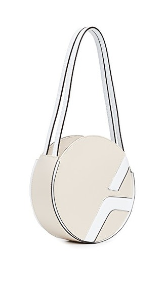 Lou Round Bag in Light Beige/White