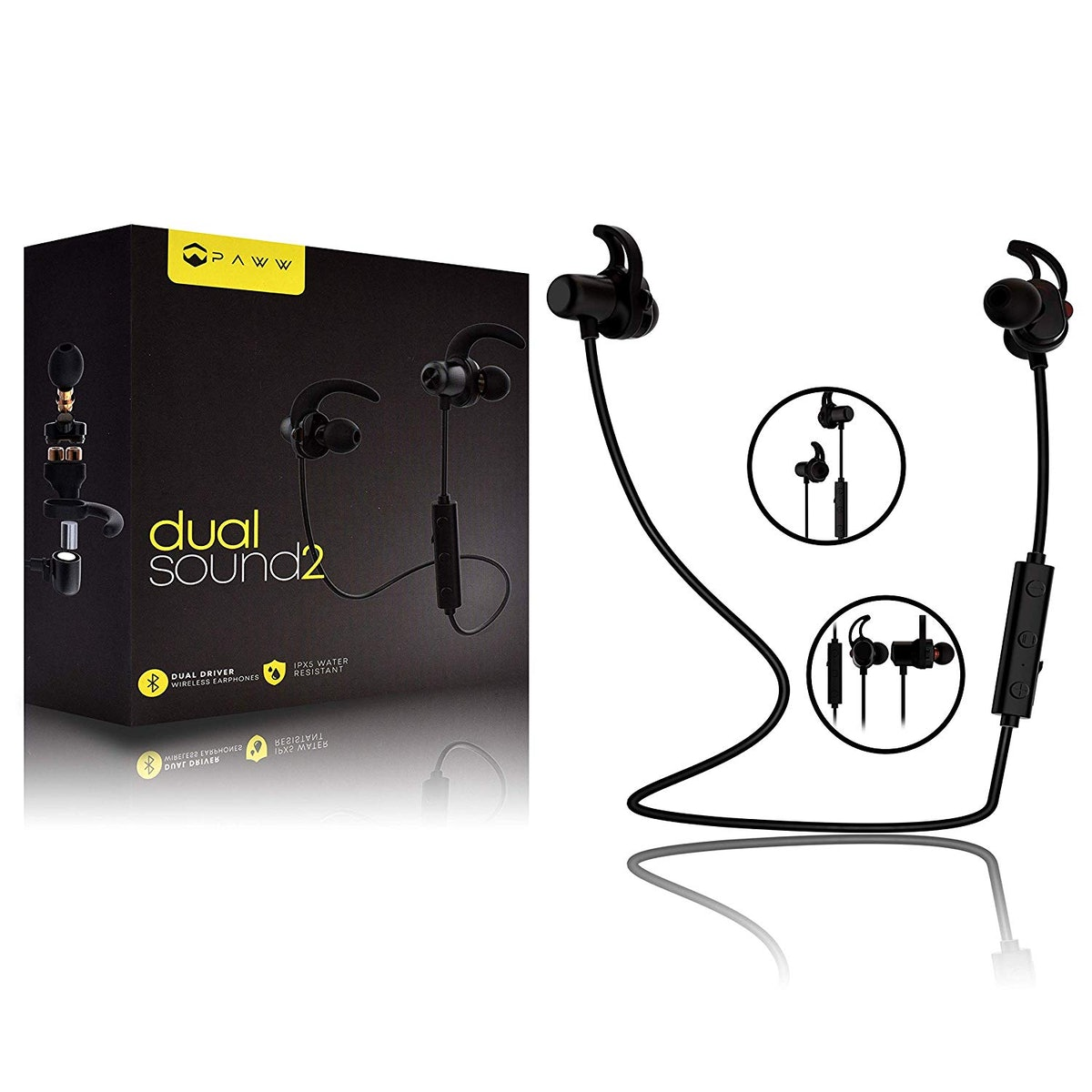 Paww DualSound 2 - Dual Driver - IPX5 Water Resistant - Sweatproof Neck Band - Bluetooth 5.0 in-Ear ...