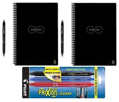 Rocketbook Everlast Reusable Smart Notebook, Letter Size, Black (Pack of 2) with 5 Pilot FriXion Pen...