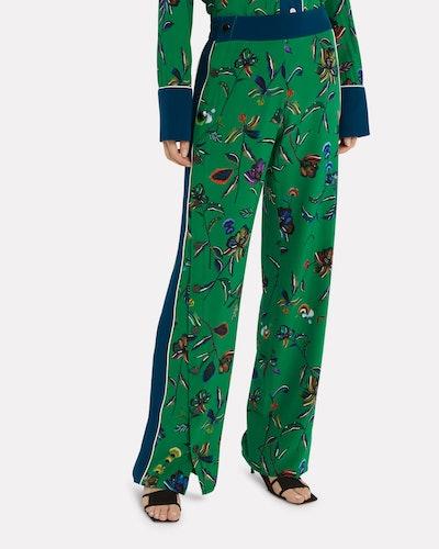 Silk Floral Track Pants