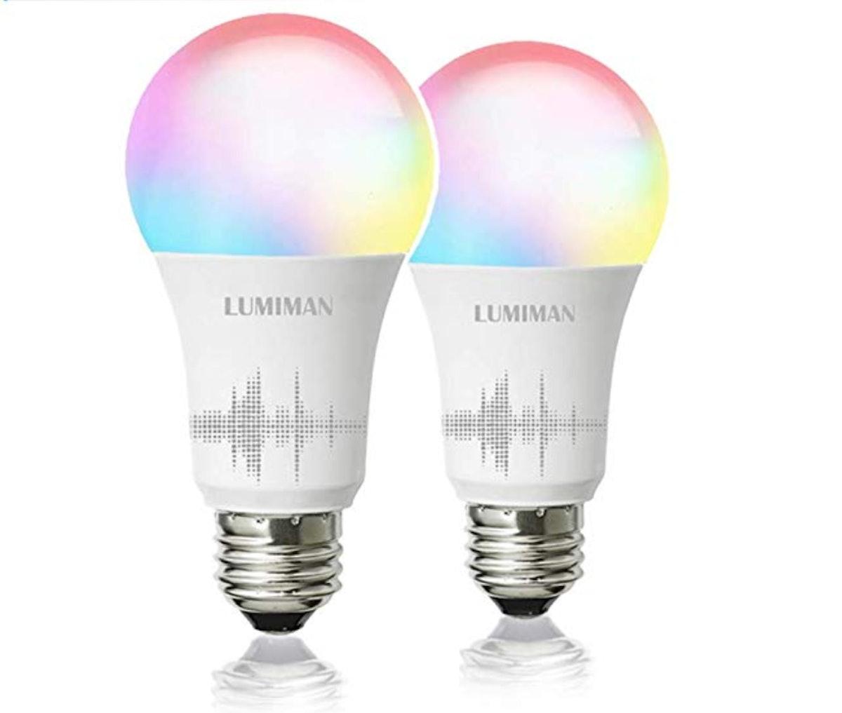 Smart WiFi Light Bulb A19 E26 Multicolor LUMIMAN 2 Pack