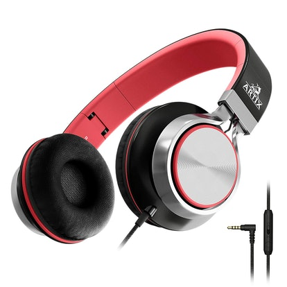 Artix CL750 Foldable Headphones with Microphone and Volume Control, On-Ear Stereo Earphones, Headset for Cellphones Tablets Smartphones Laptop Computer