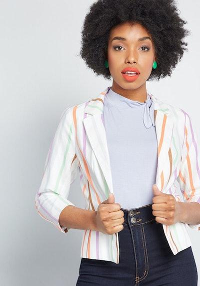 Sweet Sophistication Cotton-Linen Blazer