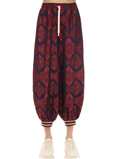 Silk Twill and Jacquard Joupe Track Pants
