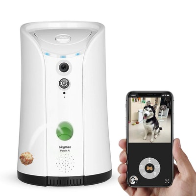 SKYMEE Dog Camera Treat Dispenser,WiFi Remote Pet Camera with Two-Way Audio and Night Vision,Compatible with Alexa