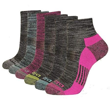 Dickies Women's 6-Pack Dritech Quarter Socks