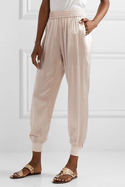 The Sadie Silk-Charmeuse Track Pants