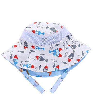 Reversible Baby Toddler Kids UPF Sun Protection Bucket Hat With Chin Strap