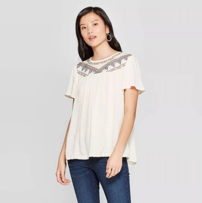 Knox Rose Women's Short Sleeve Crew Neck Top With Embroidery