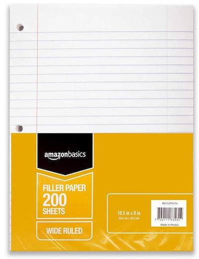 Amazon Basics Wide Ruled Loose Leaf Filler Paper, 200 Sheet, 10.5 x 8 Inch, 6-Pack