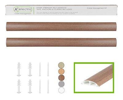 """Cables Management Kit 66"""" Natural Walnut Rigid Durable Organizer Electric Wire Raceway Self Adhesive Cord Concealer"""