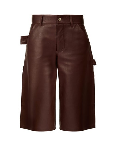 Knee-Length Leather Shorts