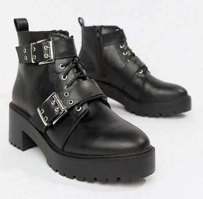 Rouge Chunky Lace Up Buckle Boots