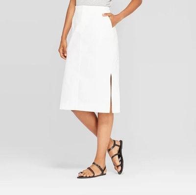 Prologue Women's Mid-Rise Midi Twill Pencil Skirt