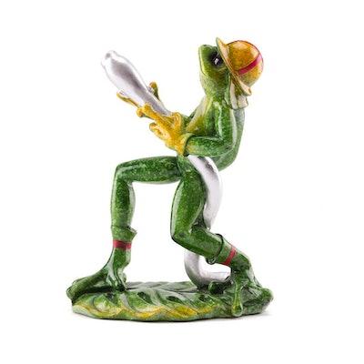 Frog Fireman Glazed Figurine