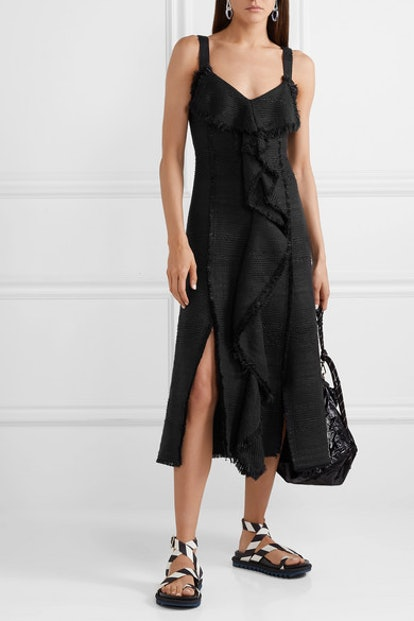 Ruffled Tweed Midi Dress
