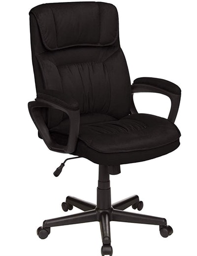 Amazon Basics Classic Office Desk Computer Chair, Adjustable, Swiveling, Microfiber, Black