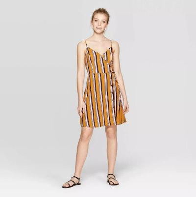 Xhilaration Women's Striped Sleeveless V-Neck Strappy Button Front Wrap Dress