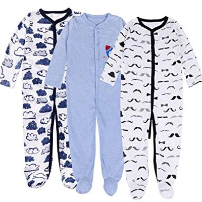 Exemaba Baby Footed Pajamas Sleeper - 3 Packs