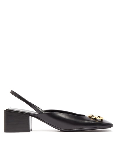 BB Logo Square-Toe Leather Slingback Pumps