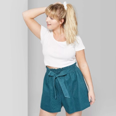 Wild Fable Women's Plus Size High-Rise Corduroy Paperbag Shorts