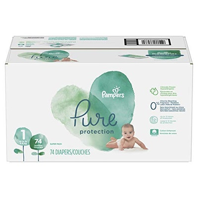 Pure Disposable Baby Diapers, Hypoallergenic and Fragrance Free Protection, SUPER, 74 Count