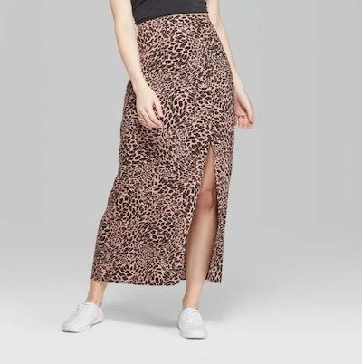 Wild Fable Women's Leopard Print Side Slit Midi Skirt