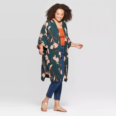 A New Day Women's Plus Size Floral Mid Length with High Side Slits Kimono