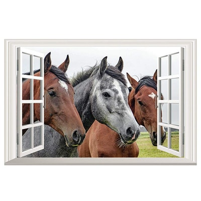 Homefind Horse Wall Decals 3D Faux Window