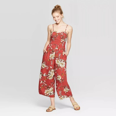 Xhilaration Women's Floral Print Sleeveless Sweetheart Neck Strappy Bra Cup Jumpsuit