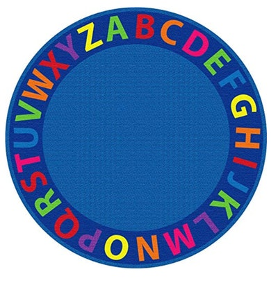 ECR4Kids Classroom A-Z Circle Time Educational Seating Rug for Children, 6-Foot Round