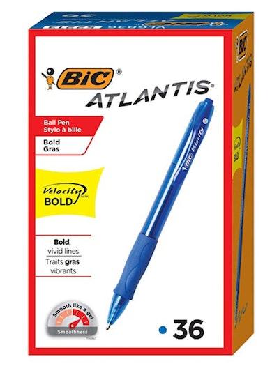 BIC Velocity Bold Retractable Ball Pen Blue 36-count