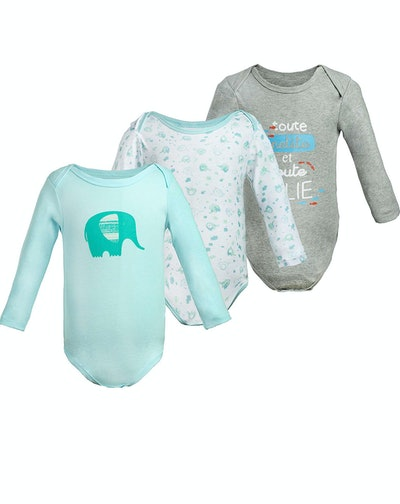 COTTON FAIRY Newborn Unisex Baby Romper 3-Pack Elephant & Slogan Print Long Sleeve Infant Summer Clothes Set