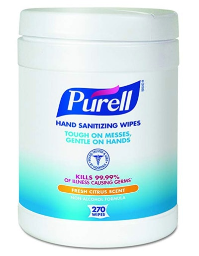Purell Hand Sanitizing Wipes, Fresh Citrus Scent, 270 Count Alcohol-free formula Sanitizing Wipes in Eco-Fit Canister (Case of 6)