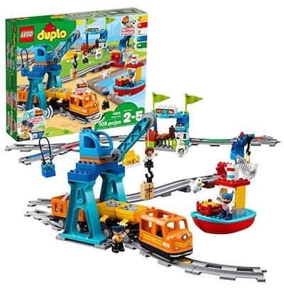 LEGO DUPLO Cargo Train Battery-Operated Building Blocks Set